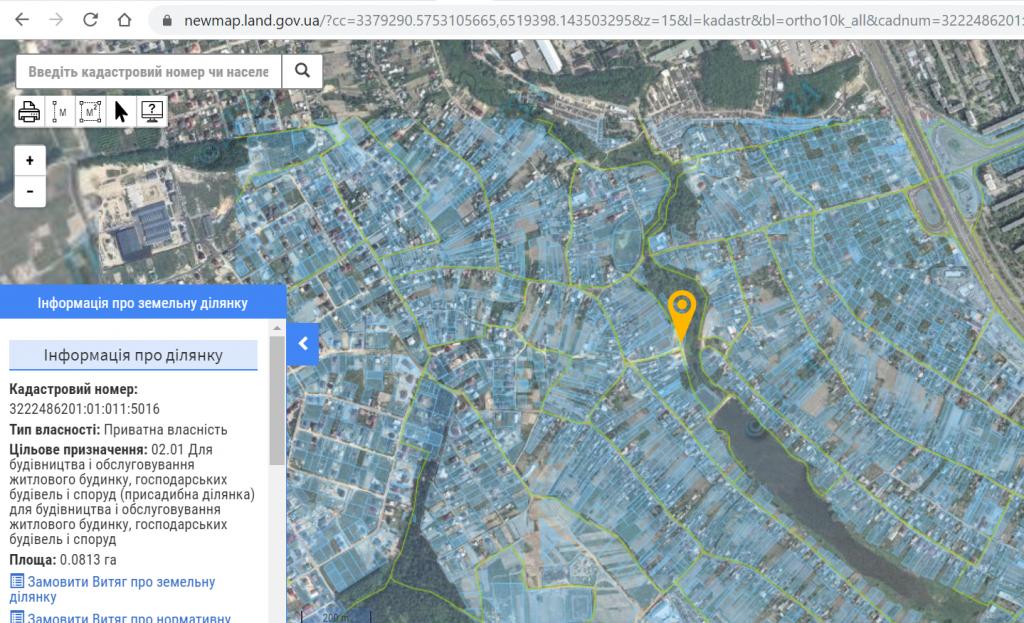 ЖК Geneva в Софиевской Борщаговке данные кадастровой карты