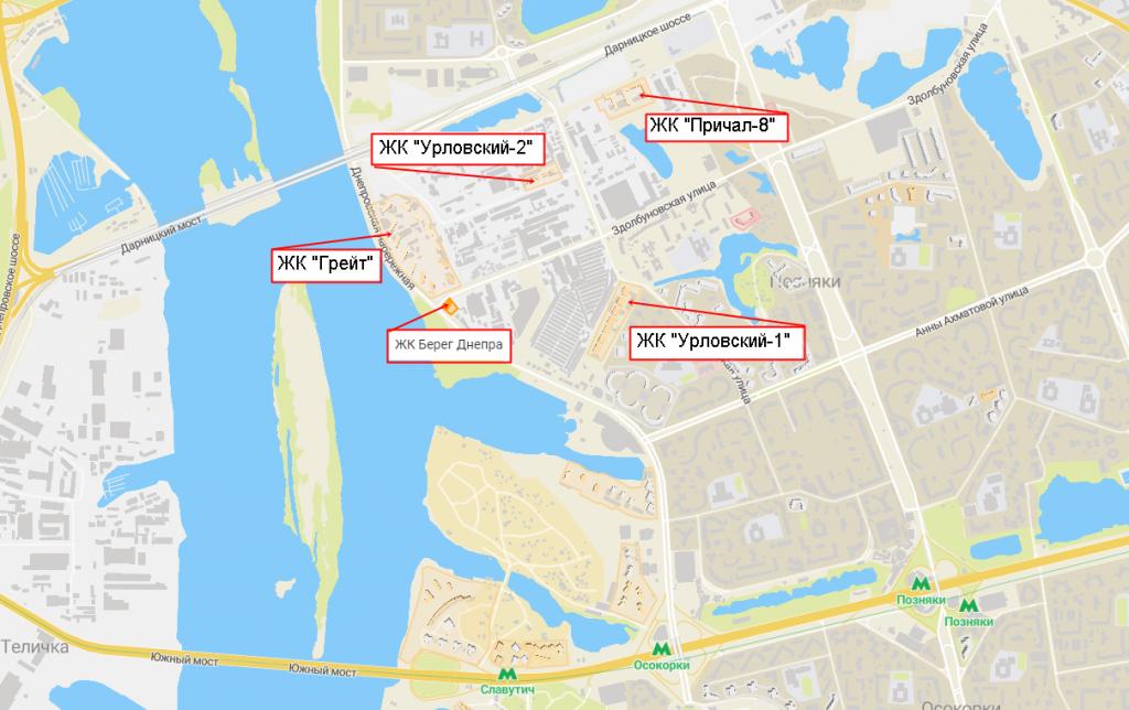 ЖК Берег Днепра от Риел на карте