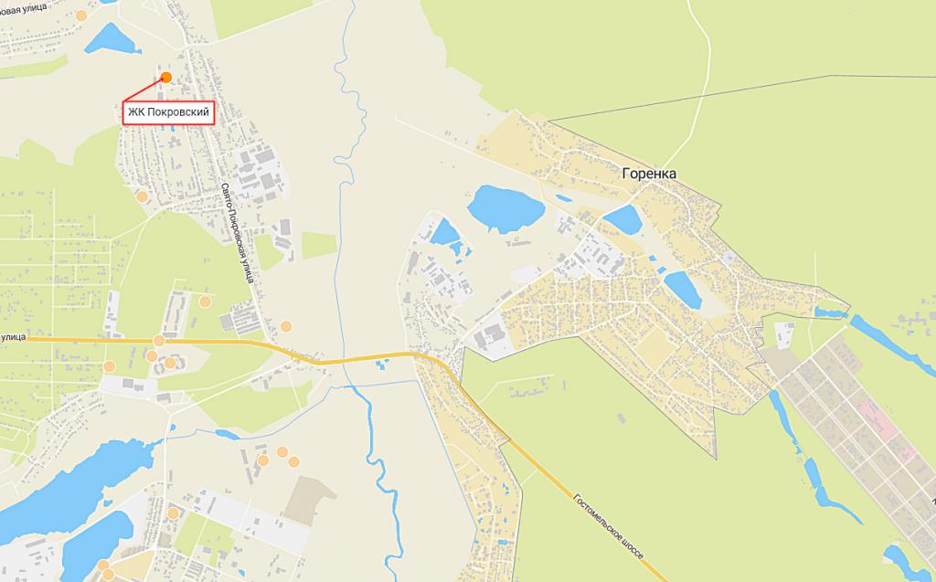 ЖК Покровский в Гостомеле на карте