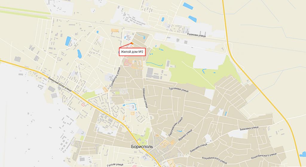 Жилой дом 2 в Борисполе на карте