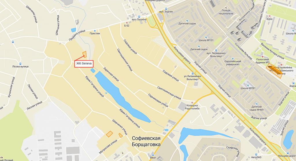 ЖК Geneva в Софиевской Борщаговке на карте