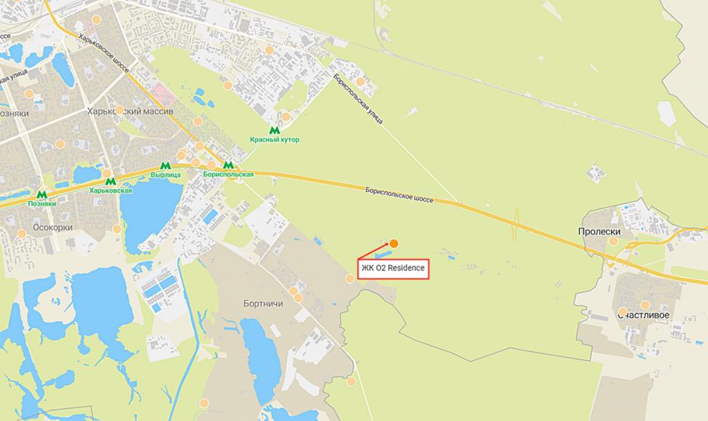 ЖК О2 Резиденс от Сага Девелопмент расположение