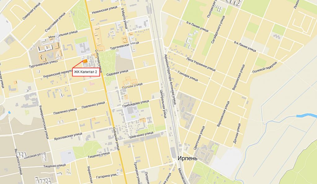 ЖК Капитал 2 в Ирпене на карте