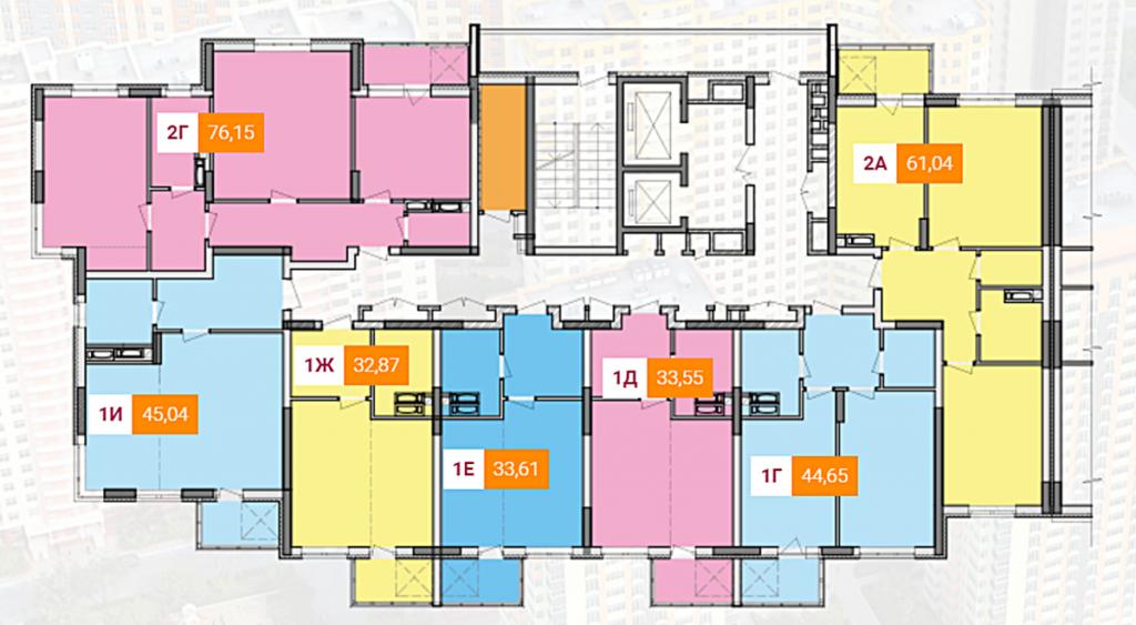 ЖК Яскравий от Интергал Буд план этажа первой секции шестого дома
