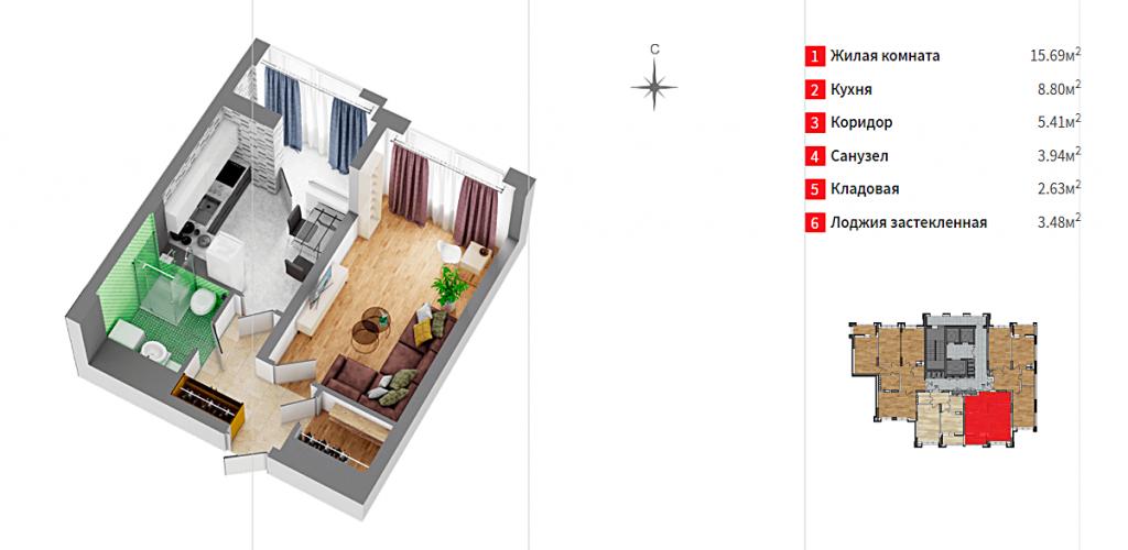 ЖК Док 32 от застройщика Ковальская планировка однокомнатной квартиры