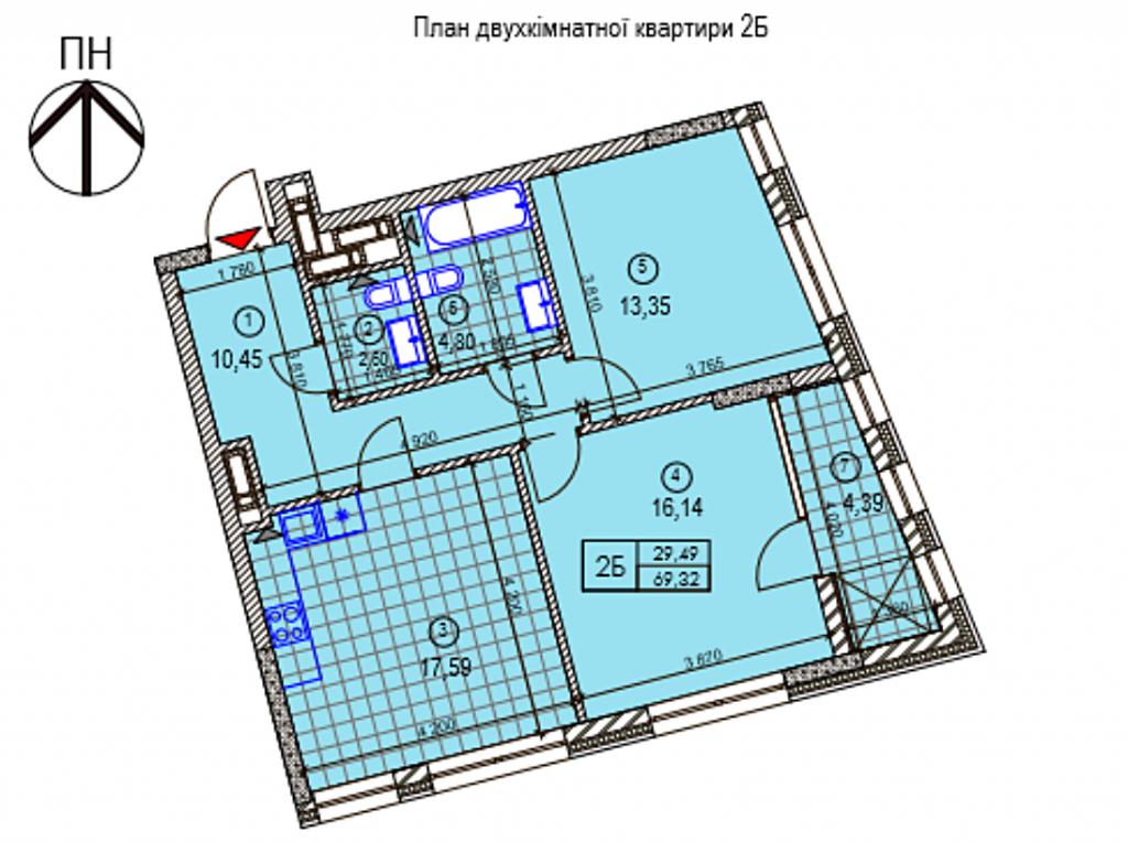 ЖК Ломоносова от Буд Кепитал и КГС планировка двухкомнатной квартиры