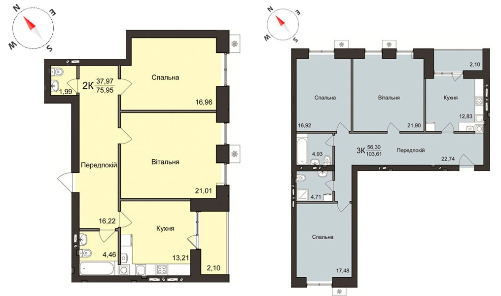 Жилой дом 2 в Борисполе планировки двухкомнатной и трехкомнатной квартир