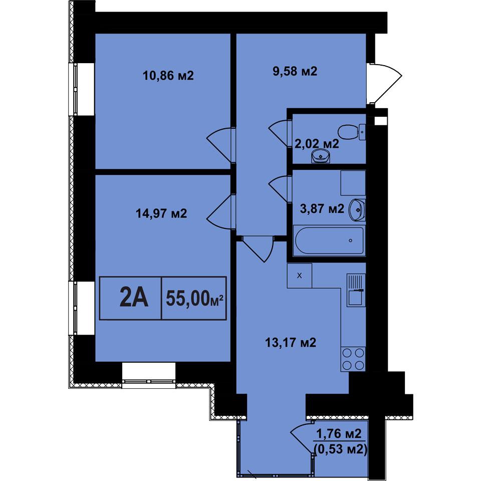 ЖК Покровский в Гостомеле планировка двухкомнатной квартиры