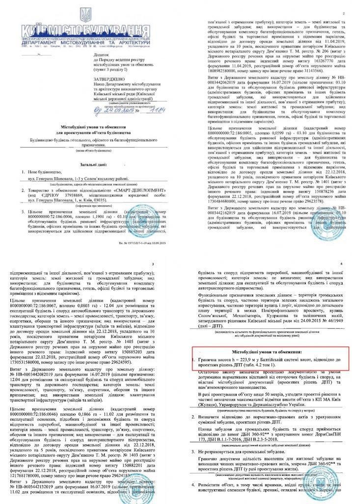 Новый проект новостройки Киева на Шаповала 1-3 органичения на проектирование