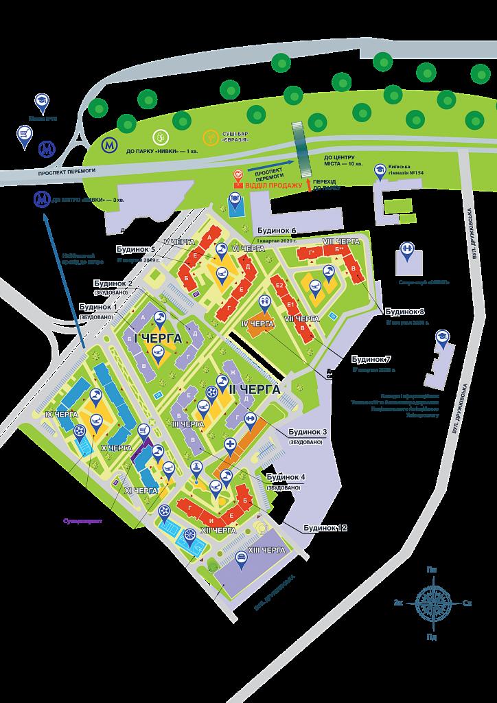 ЖК Нивки Парк от Интергал Буд генеральный план комплекса