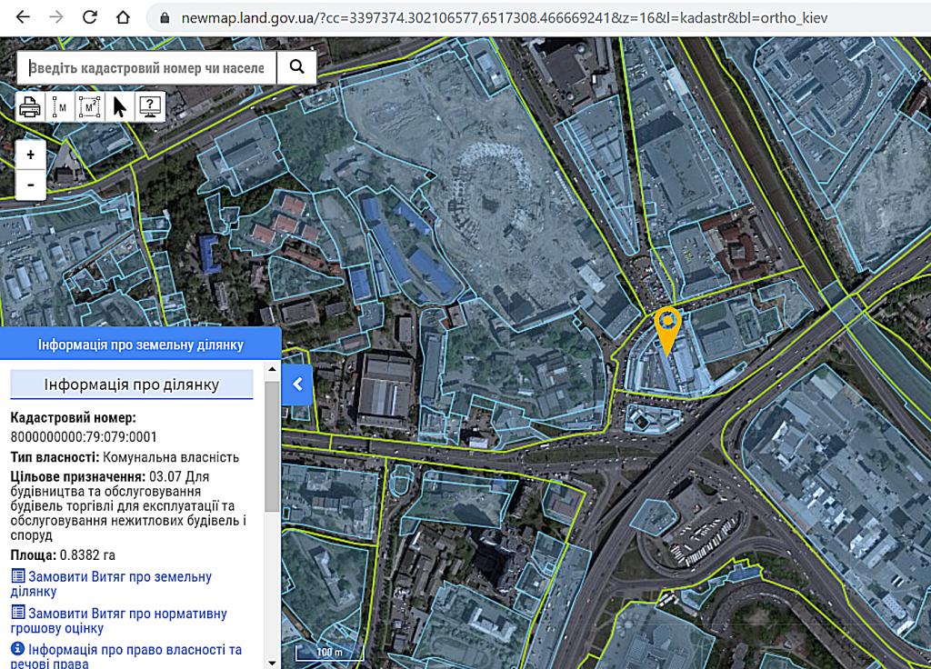 Новый проект новостройки Киева на Демеевском рынке кадастровая карта
