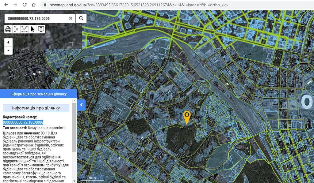 Новый проект новостройки Киева на Шаповала 1-3 участок на кадастровой карте