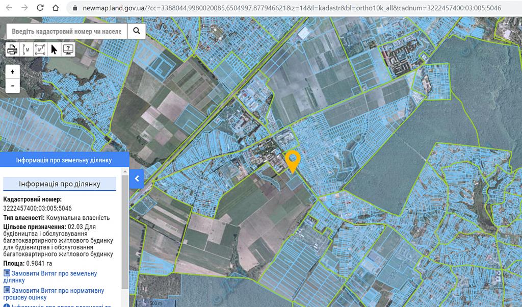 ЖК Чабани 2 в Чабанах данные кадастра