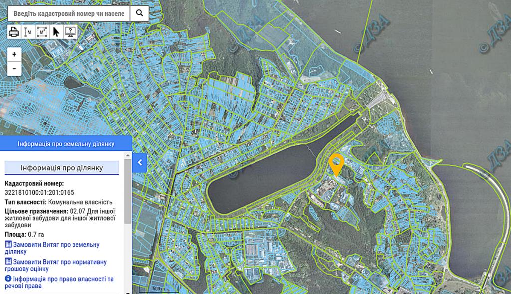 ЖК Лондон в Вышгороде назначение земли по данных кадастра