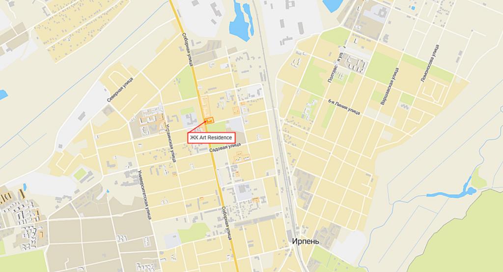 ЖК Арт Резиденс в Ирпене на карте