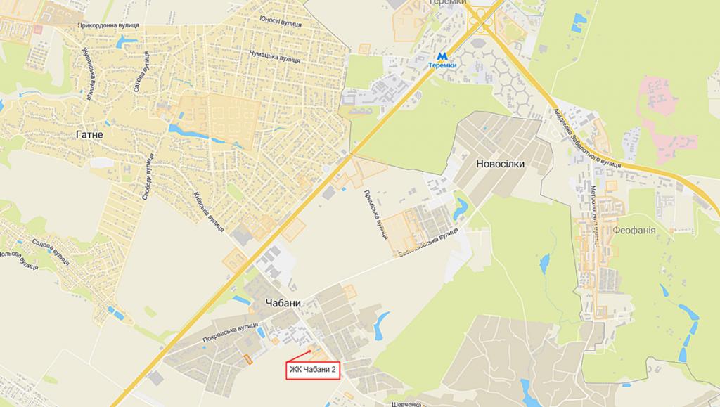 ЖК Чабани 2 в Чабанах на карте