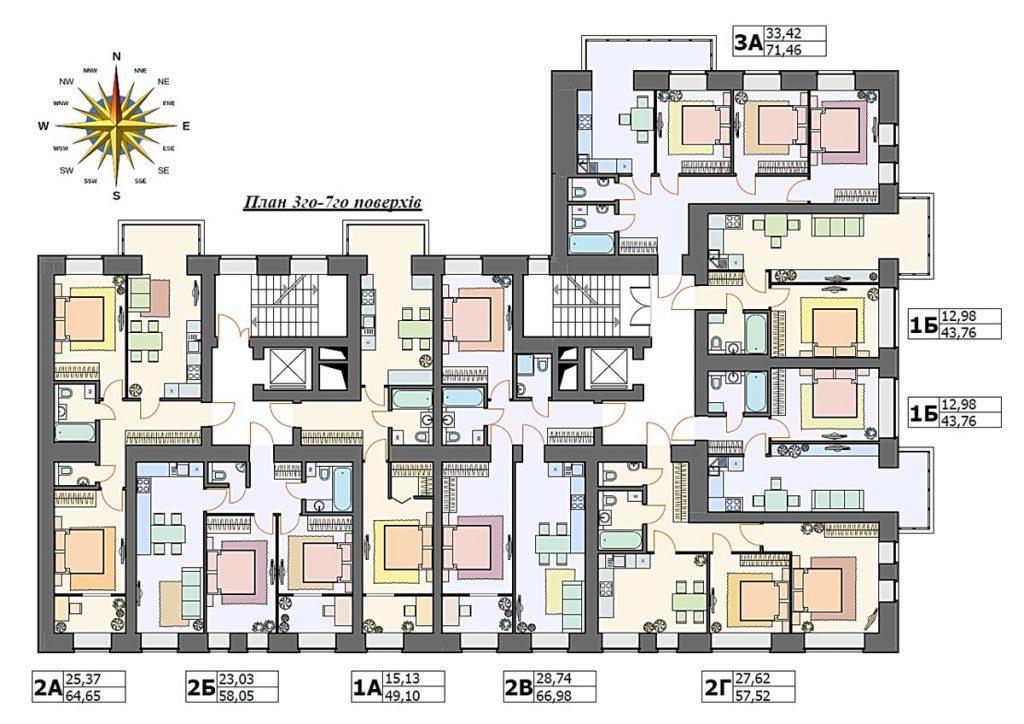ЖК Арт Резиденс в Ирпене поэтажный план