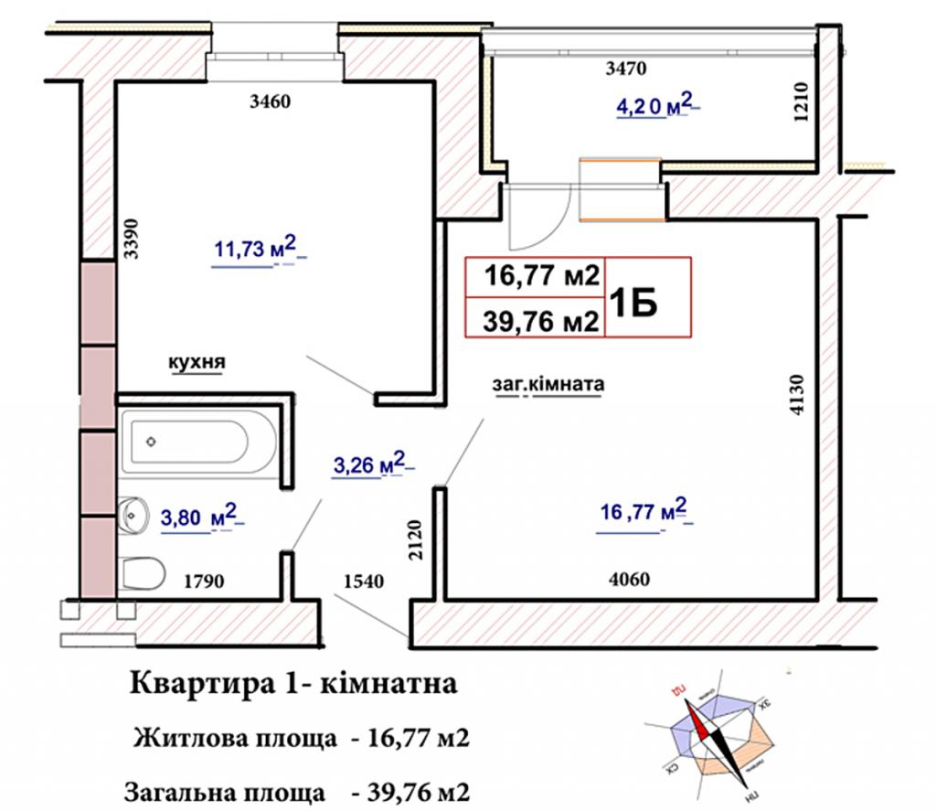 ЖК Чабани 2 в Чабанах планировка однокомнатной квартиры