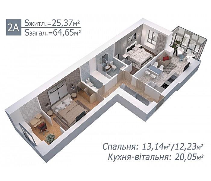 ЖК Арт Резиденс в Ирпене планировка двухкомнатной квартиры
