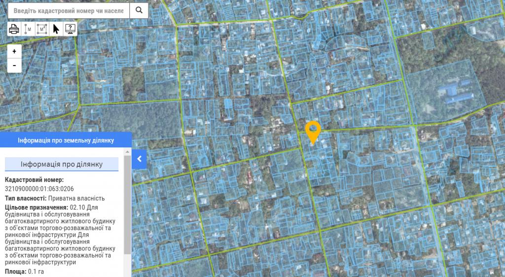 ЖК Новые метры Клаб в Ирпене данные о земле в кадастровой карте