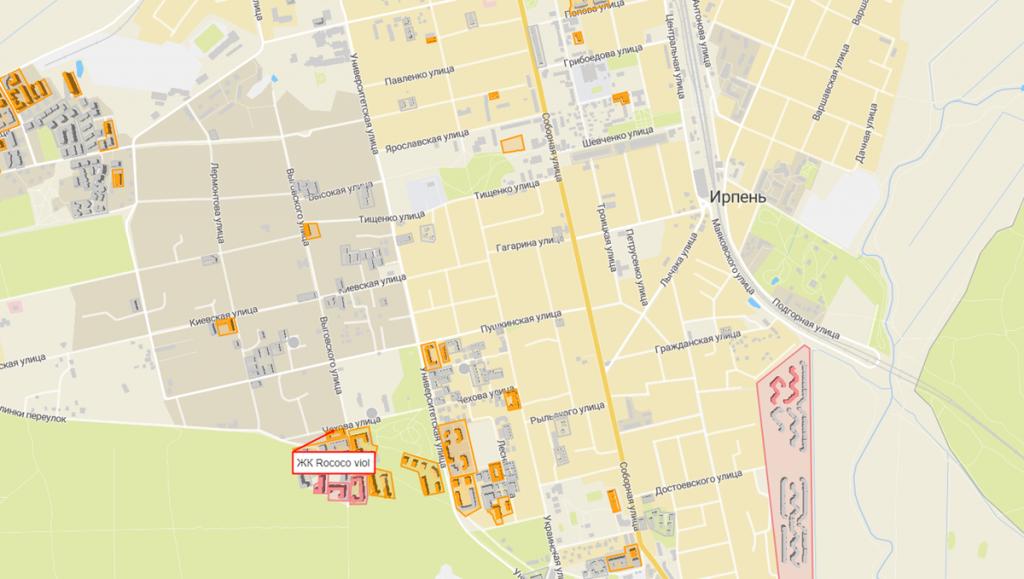 ЖК Рококо Виол в Ирпене на карте