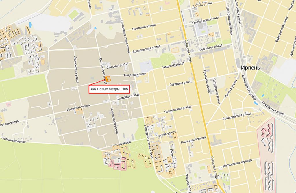 ЖК Новые метры Клаб в Ирпене на карте