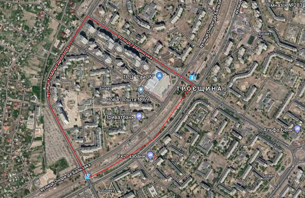 Детальный план территории Троещины территория