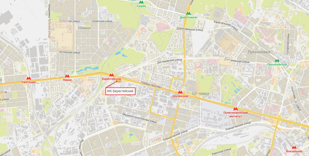 ЖК Берестейский на карте