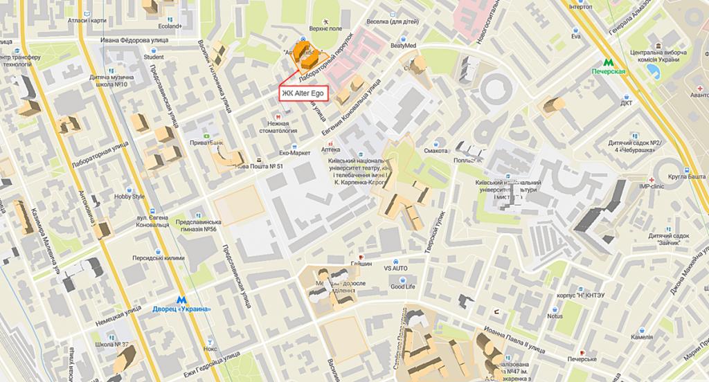 ЖК Альтер Эго на карте