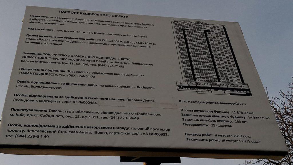 ЖК Уно Сити Хаус Гранд Парк на Дорогожичах строительный паспорт