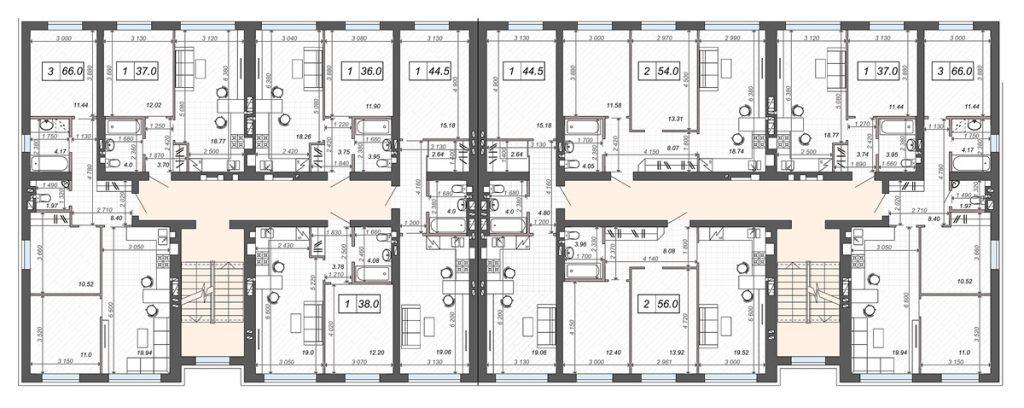 ЖК Новые метры Клаб в Ирпене планировка этажа