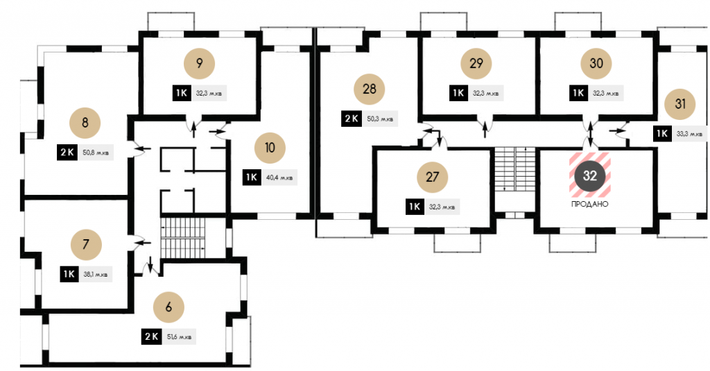 ЖК Амстердам в Белогородке планировка этажа