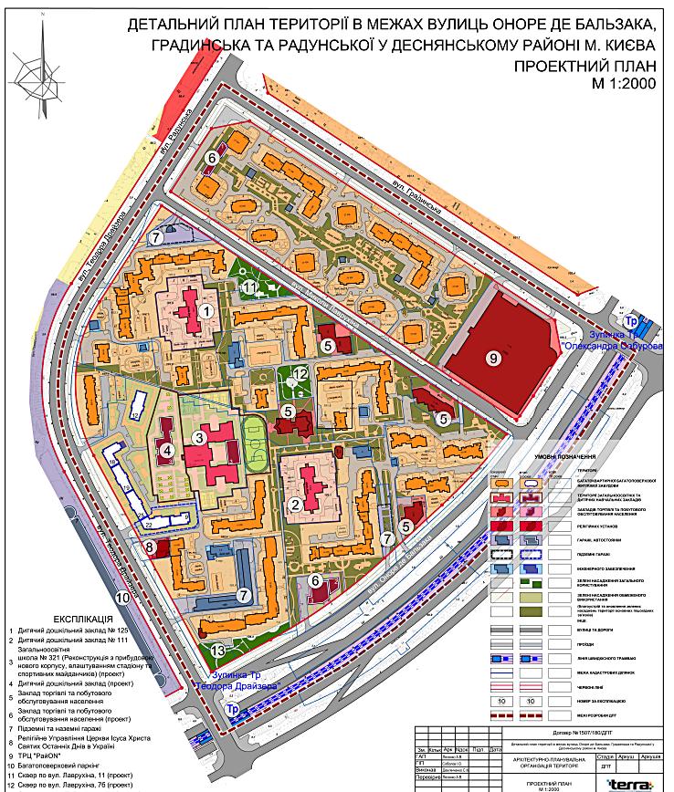 Детальный план территории Троещины проектный план