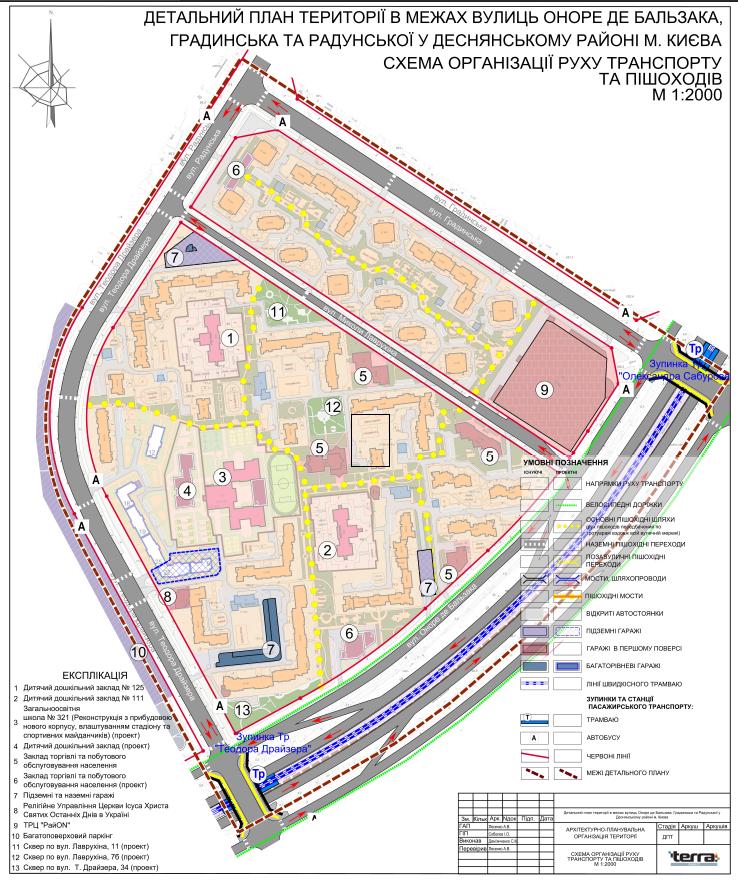 Детальный план территории Троещины дорожно транспортная сеть