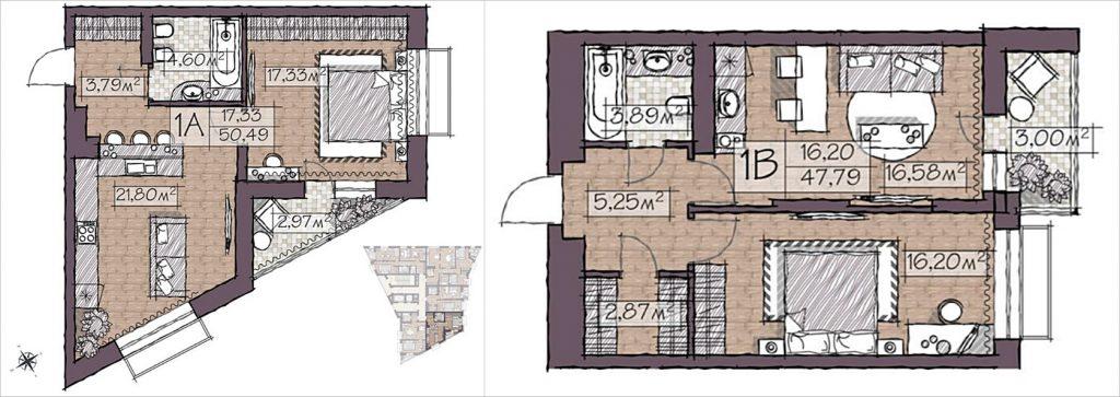 ЖК Конкордия от ИСК Обрий планировки однокомнатных квартир
