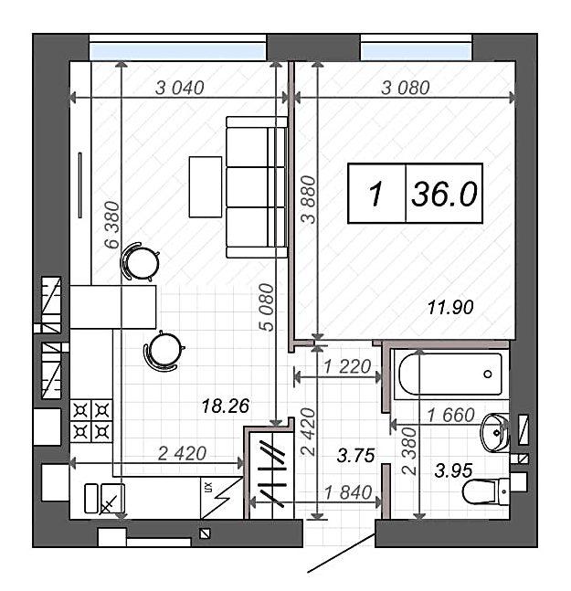 ЖК Новые метры Клаб в Ирпене планировка однокомнатной квартиры