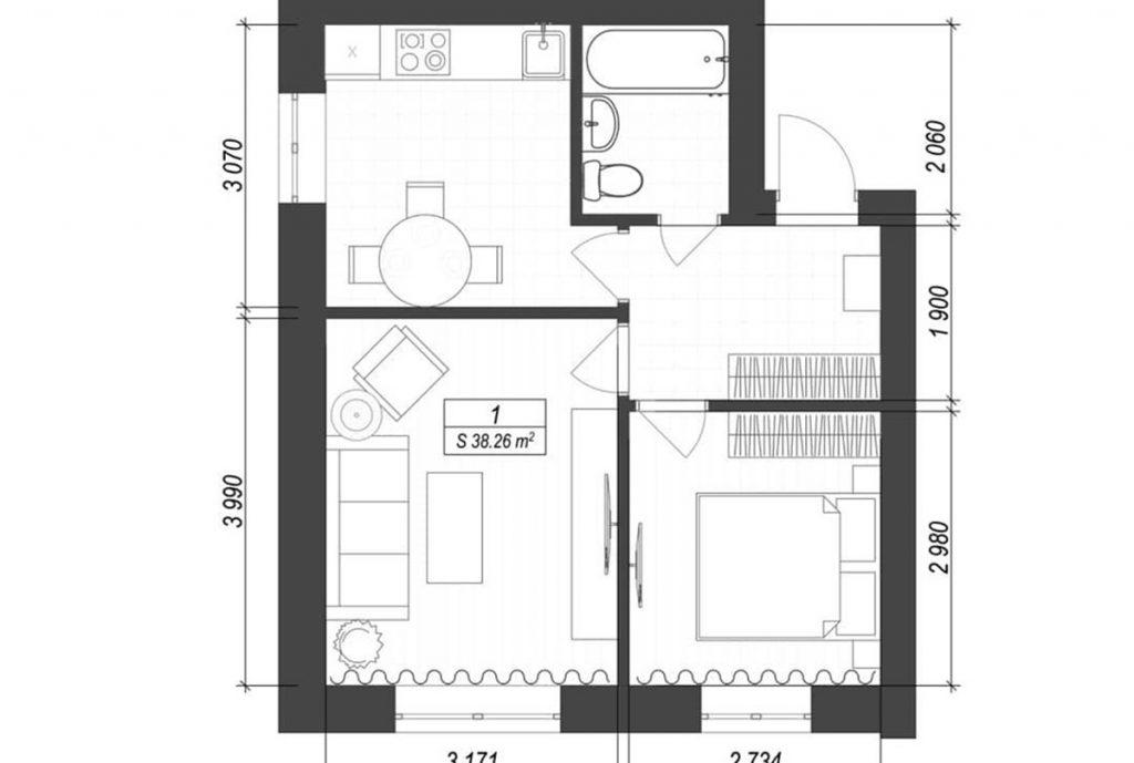 ЖК Смарт Формат в Погребах планировка двухкомнатной квартиры