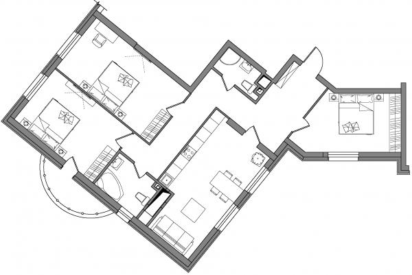 ЖК Alter Ego от ГЕОС планировка трехкомнатной квартиры