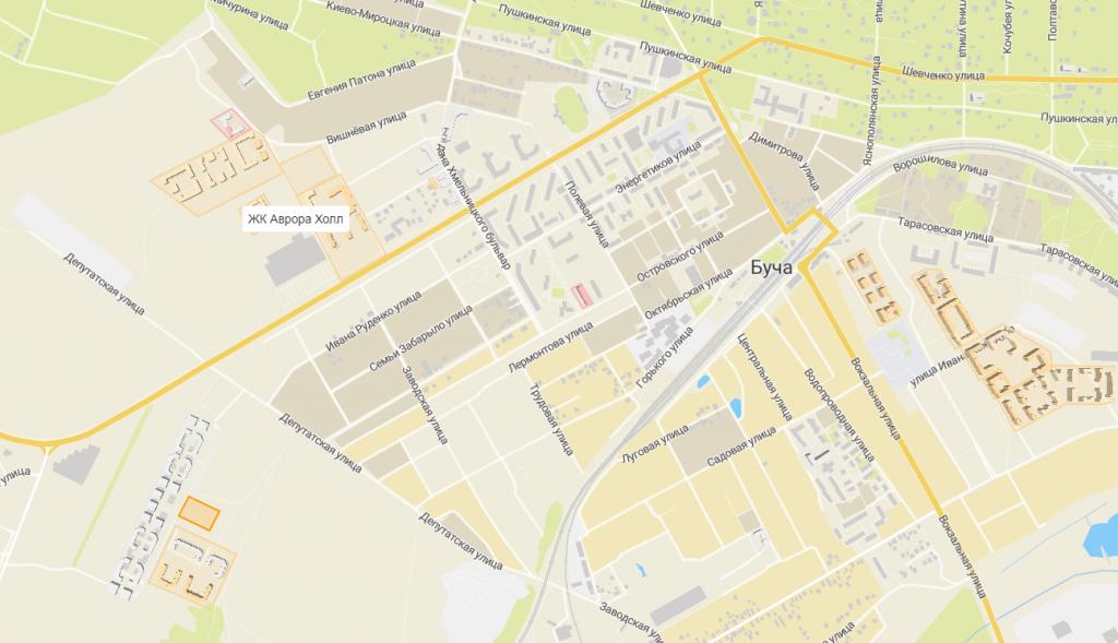 Новые проекты новостроек Бучи 2020 Аврора холл 2 на карте
