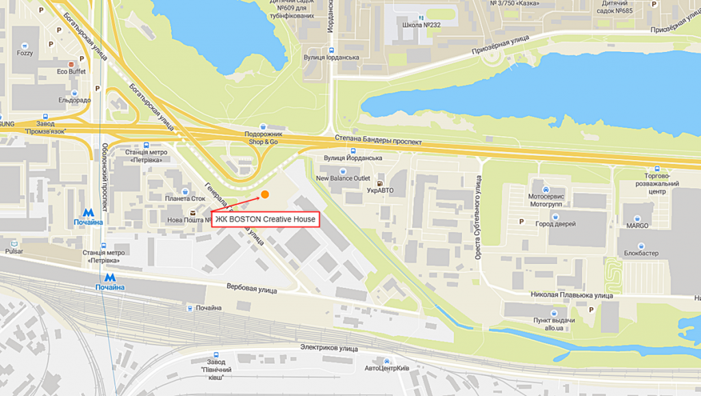 ЖК Бостон криейтив хаус новый проект новостройки Киева 2020 на карте