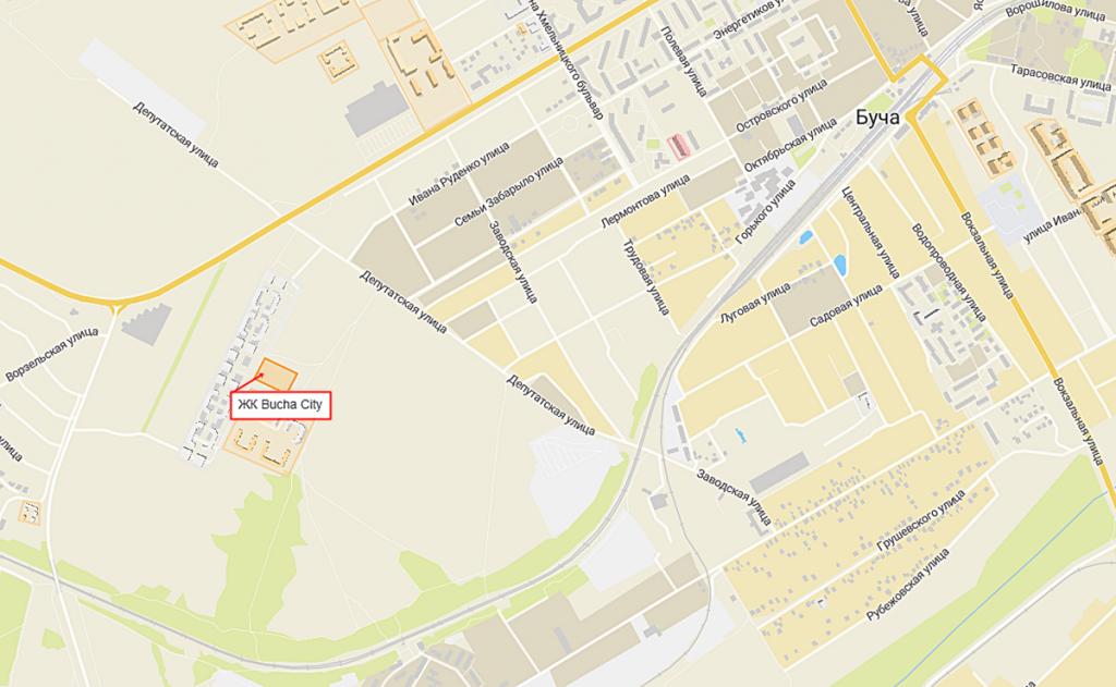 Новые проекты новостроек Бучи 2020 Буча Сити на карте