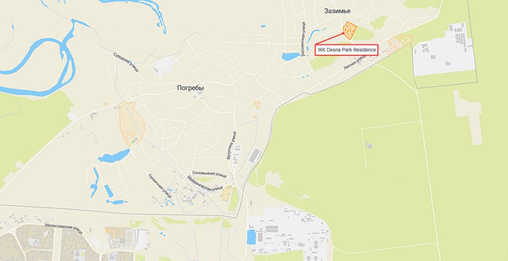 Новые проекты новостроек Зазимья 2020 ЖК Десна Парк Резидэнс на карте