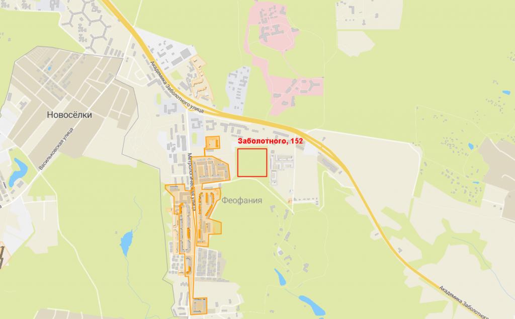 Будущий проект по улице Заболотного, 152 на карте
