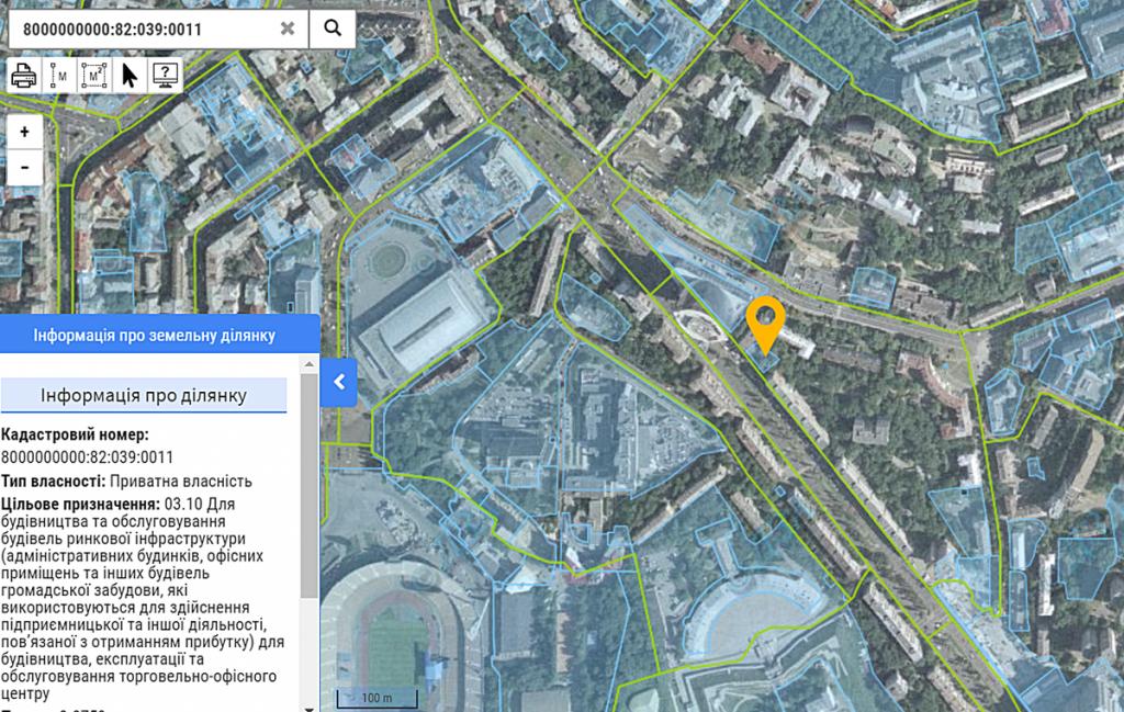 Данные кадастра о стройке по бульвару Леси Украинки