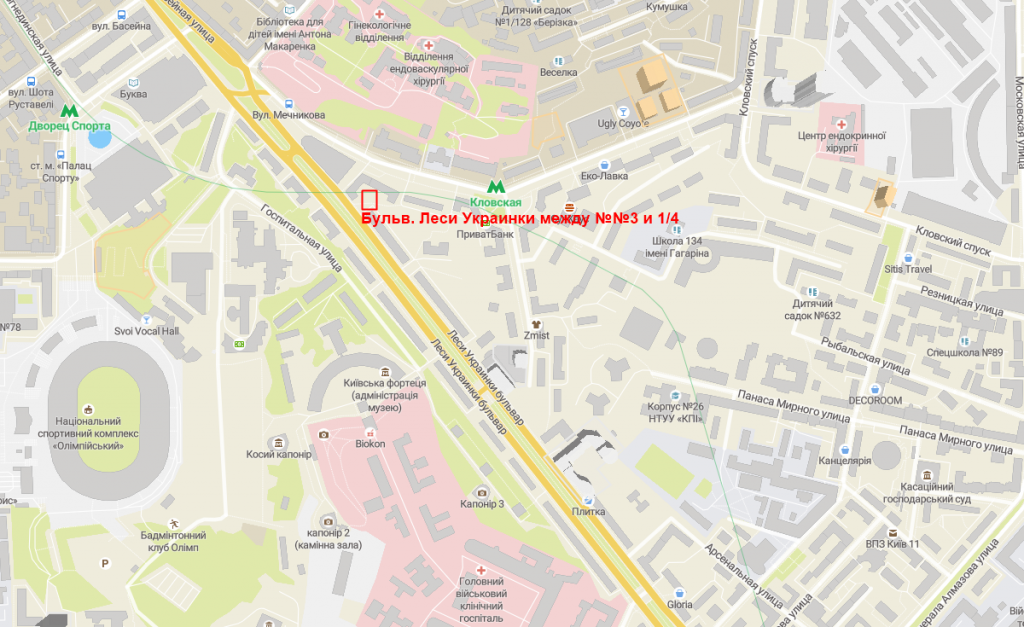 Будущий проект по бульвару Леси Украинки на карте