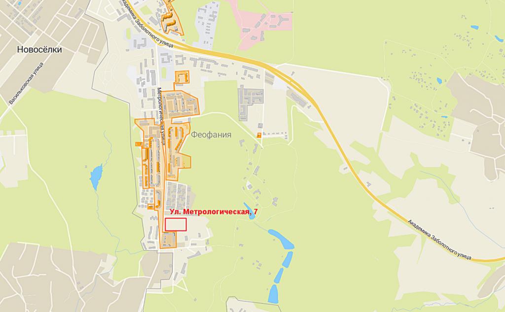 Будущий проект по улице Метрологическая, 7 на карте
