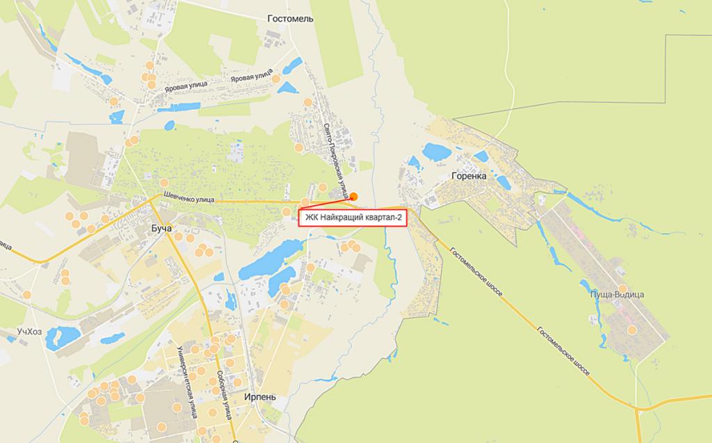 Новые проекты новостроек Киевской области 2020 Найкращий квартал 2 на карте
