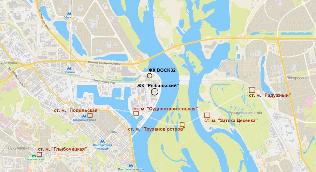 Новостройки на схеме новой ветки метро нового Генплана Киева