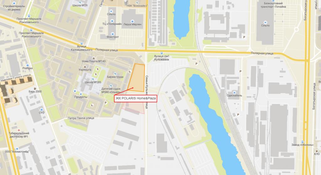 ЖК Полярис хоум енд плаза новый проект новостройки Киева 2020 на карте