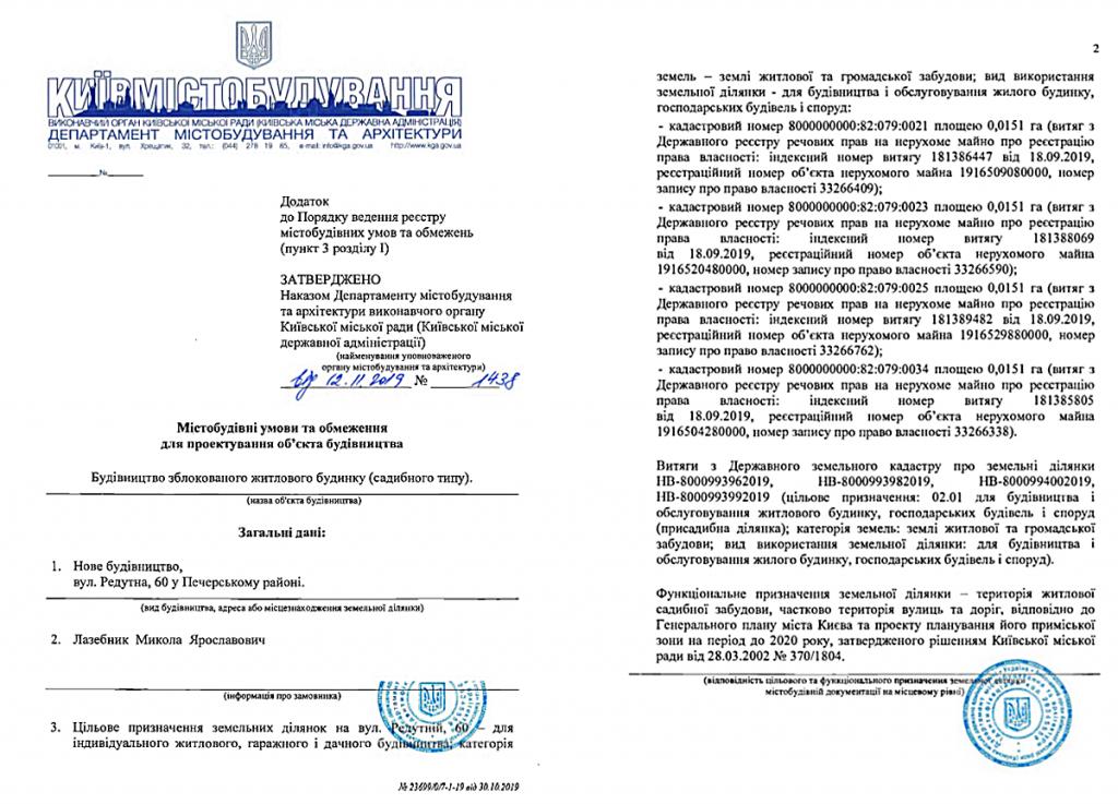 Ограничения на проектирование объекта строительства по улице Редутная, 60